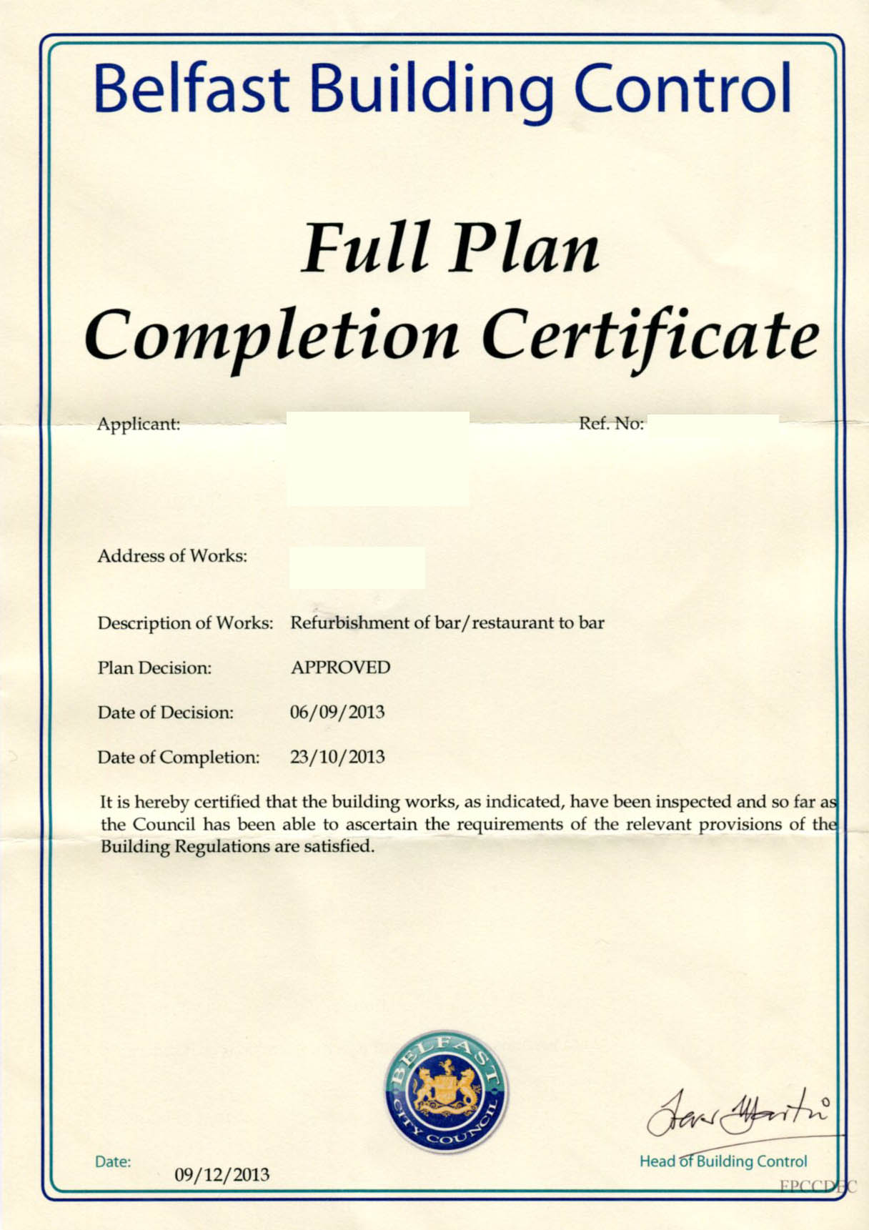 how to get building completion certificate